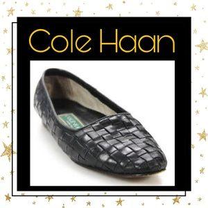 Cole Haan Designer Black Woven Slip-on Loafers 5.5